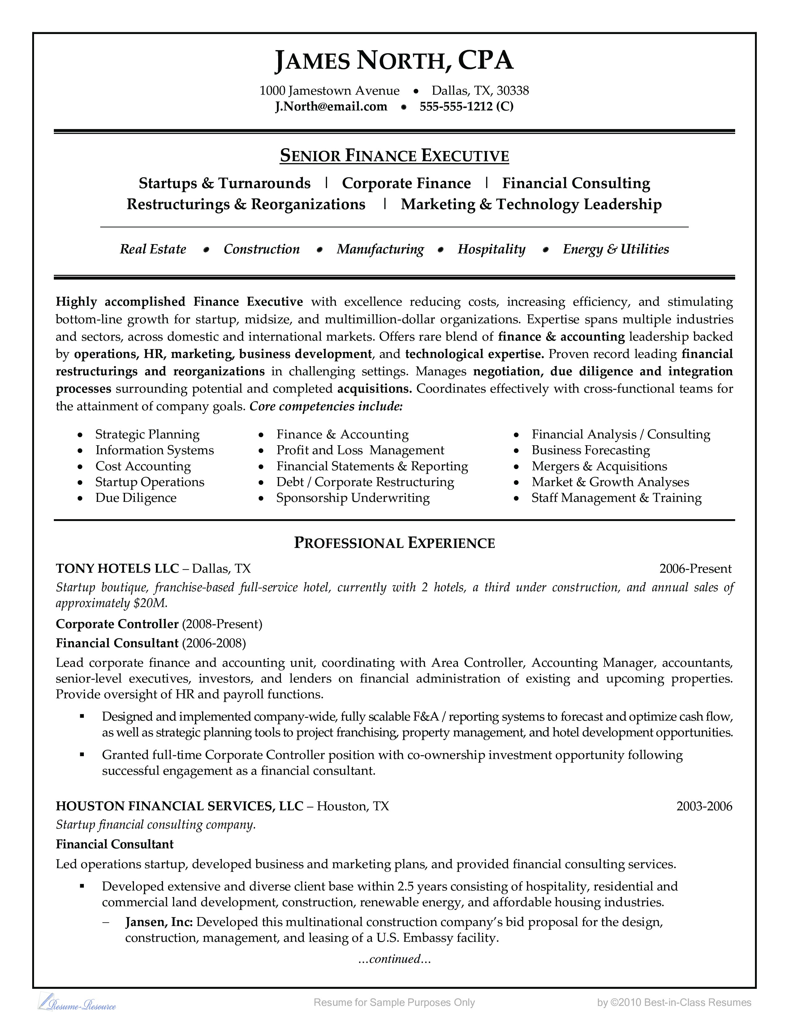 Financial Consultant Resume Example Business Resume Examples Resume Examples Sample Resume Teaching Resume
