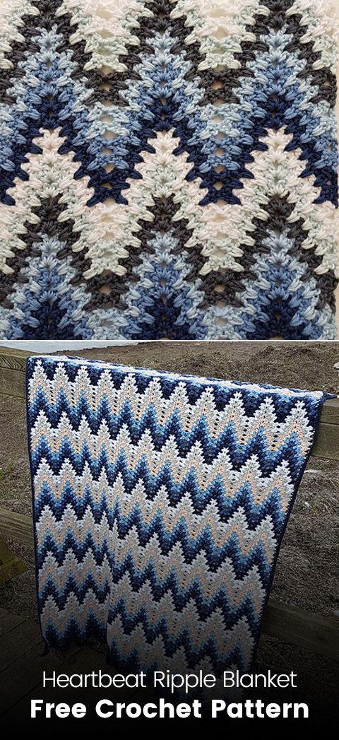 Heartbeat Ripple Blanket Free Crochet Pattern #crochet #crafts ...