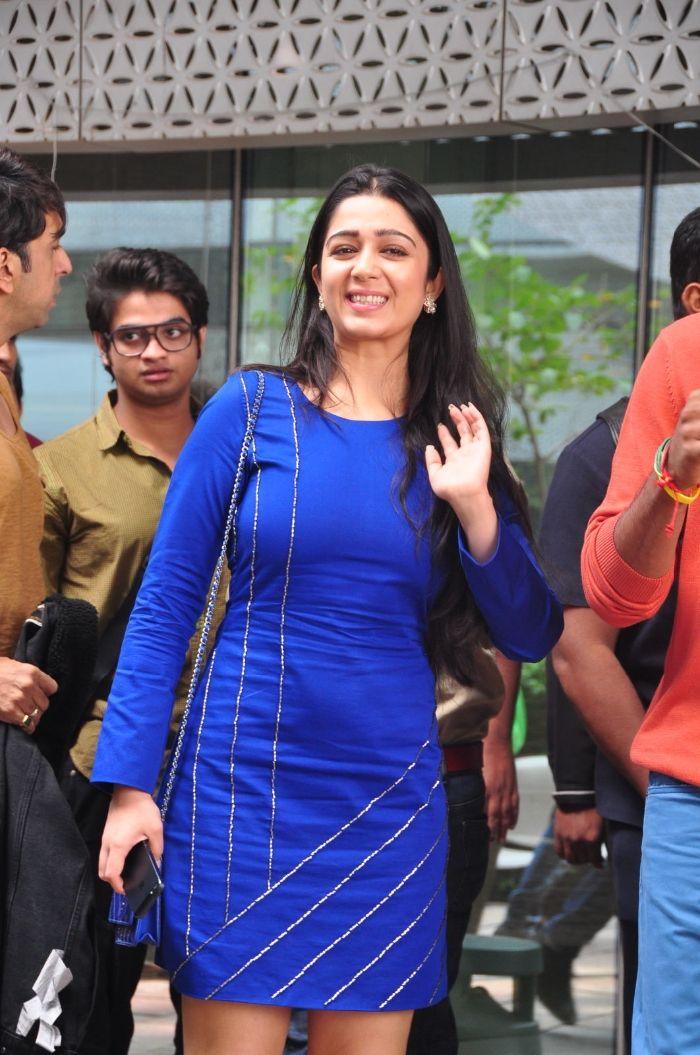 Charmi Latest Blue Dress Photos At Rrajkumar Movie Promotion Event