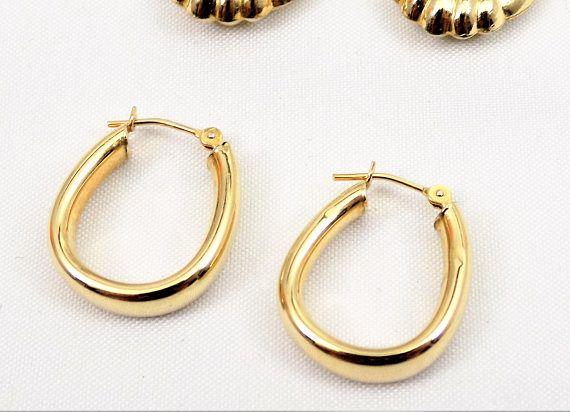 14k Gold Hoop Earrings Smooth Hinged Back Vintage Hoops Modern