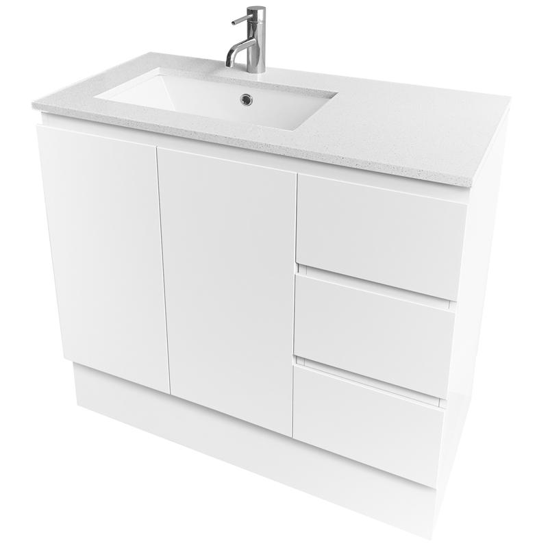 Cibo Design 900mm White Caesar Floor Mounted Vanity With Quartzstone Top Vanity Bathroom Plumbing Design