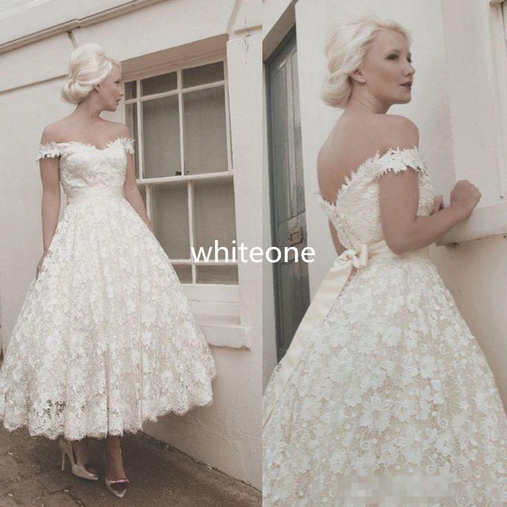 Elegant Wedding Gowns 1950S Vintage Off Shoulder White Lace