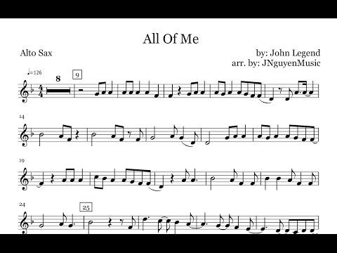 Alto Sax All Of Me John Legend Sheet Music Chords Vocals