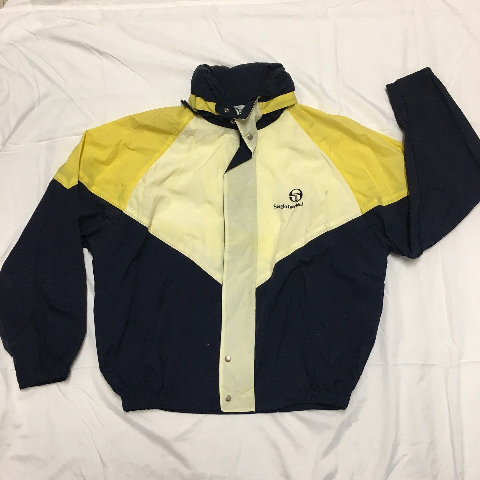 Vintage Sergio Tacchini Windbreaker Jacket 80s 90s Yellow