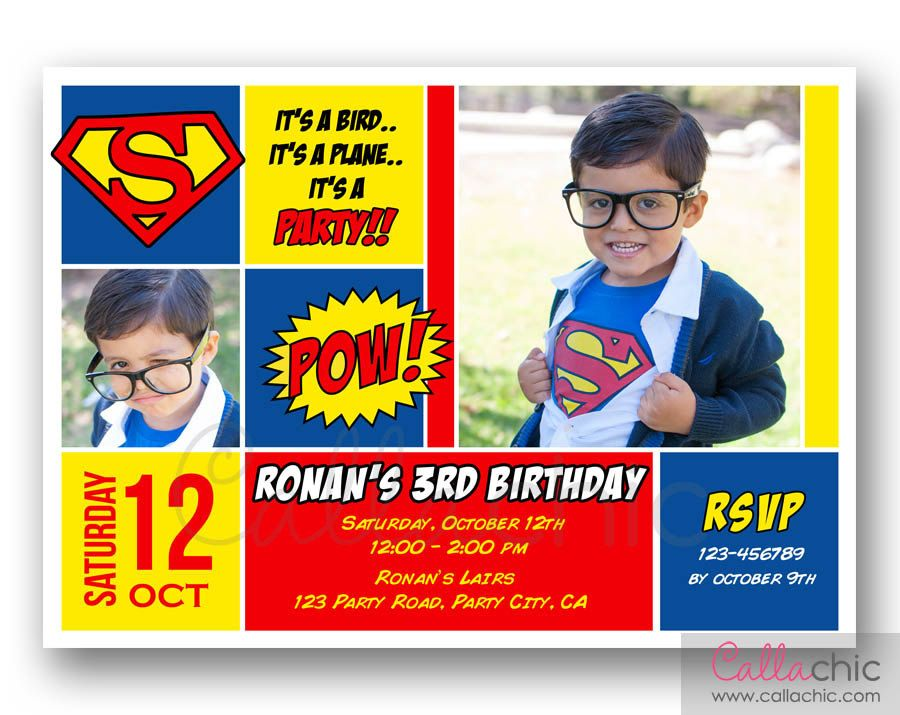 superman birthday invitation with photo printablecallachic, invitation samples