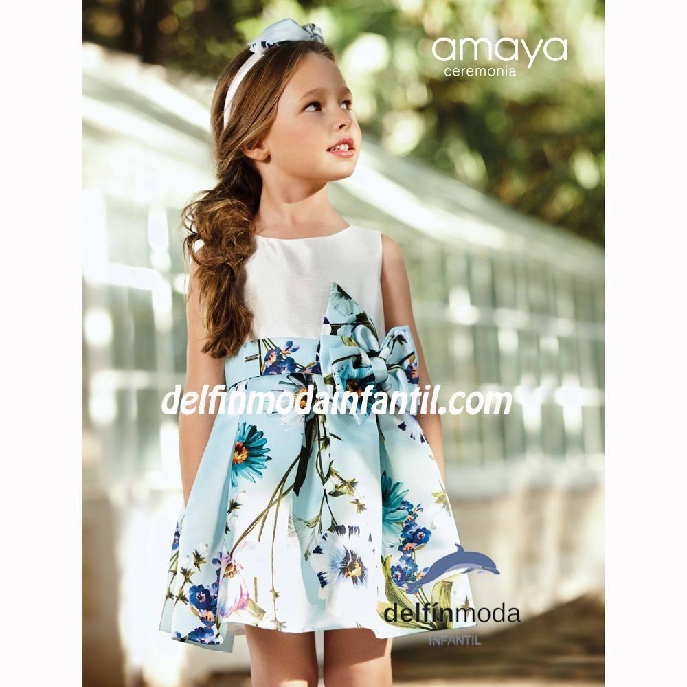 Vestido Para Niña De Ceremonia Amaya 2019 Estampado Celeste Vestidos Para Niñas Vestidos Niña Ceremonia Moda Infantil