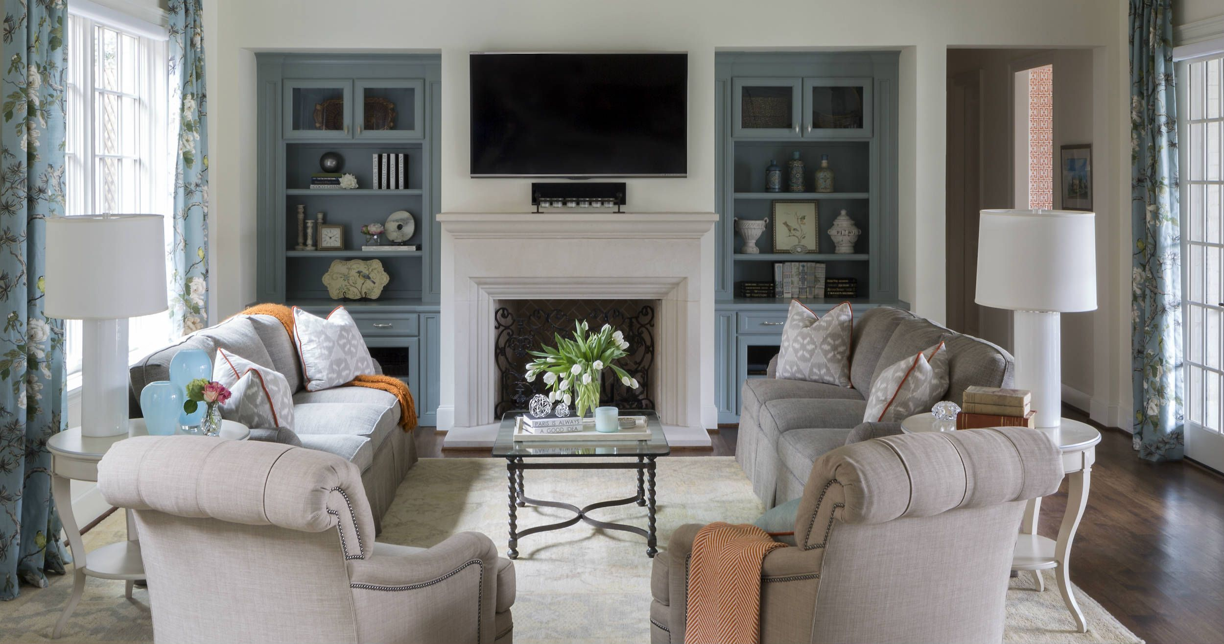 Fantastic Fort Worth Georgian Southern Home Magazine Media Room Floral Largest Home Design Picture Inspirations Pitcheantrous