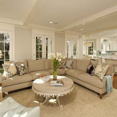 Neutral Living Room With Taupe Sectional Design Ideas Pictures Re Living Room And Kitchen Design Living Room Dining Room Combo Traditional Design Living Room