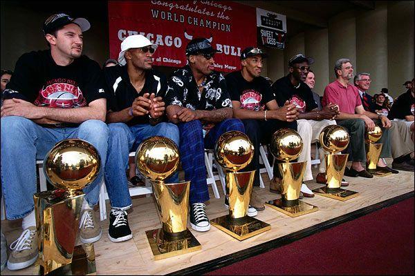 Michael Jordan and the Bulls after winning championship #6