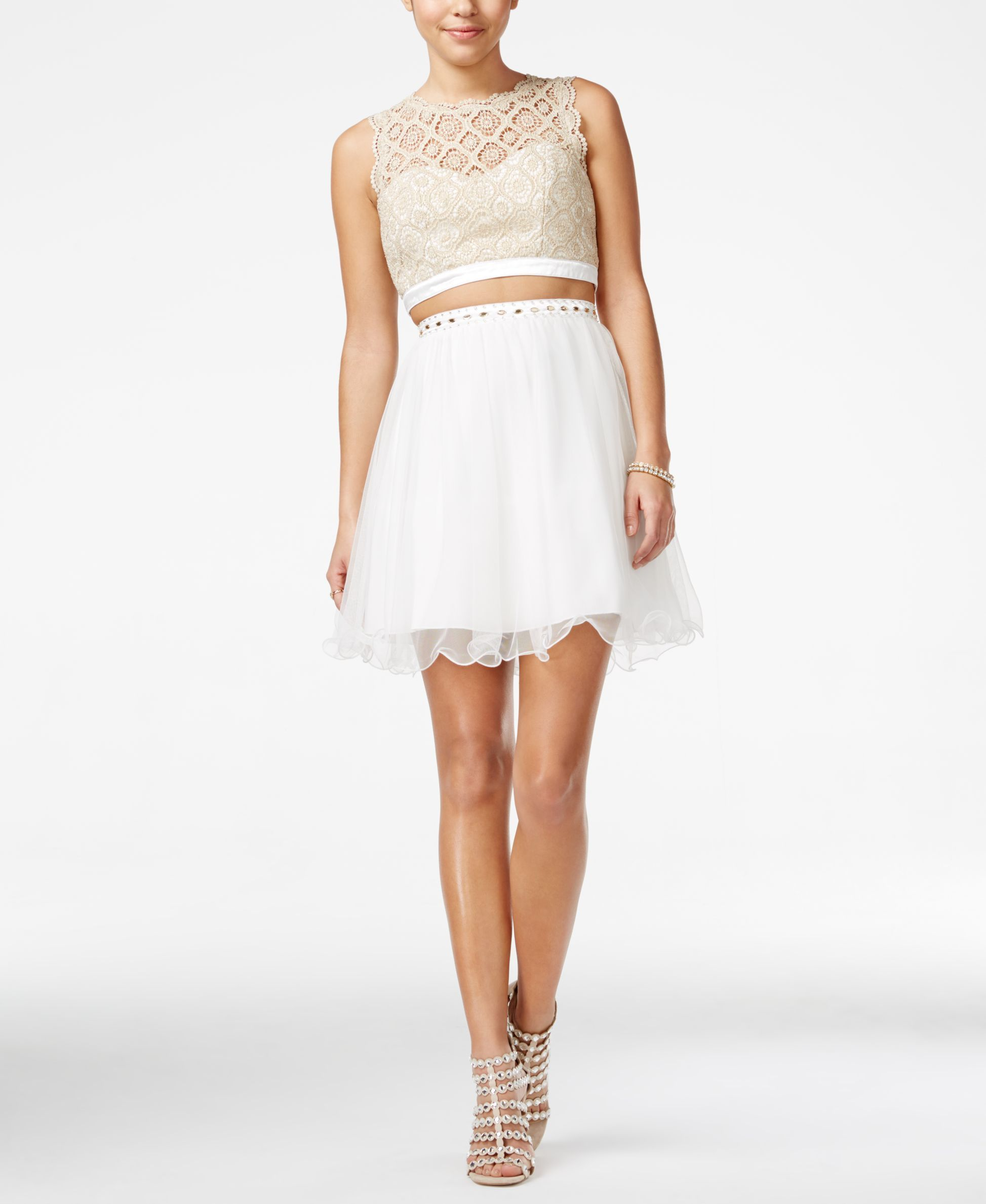 Sequin Hearts Juniors Embellished Lace Two Piece Dress Juniors Dresses Macy S Two Piece Homecoming Dress Cocktail Dress Lace White Lace Cocktail Dress [ 2378 x 1947 Pixel ]