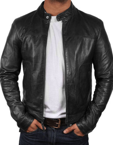 Slim Fit Biker Motorcycle Retro Style  Black Real Leather Jacket for Men/'s