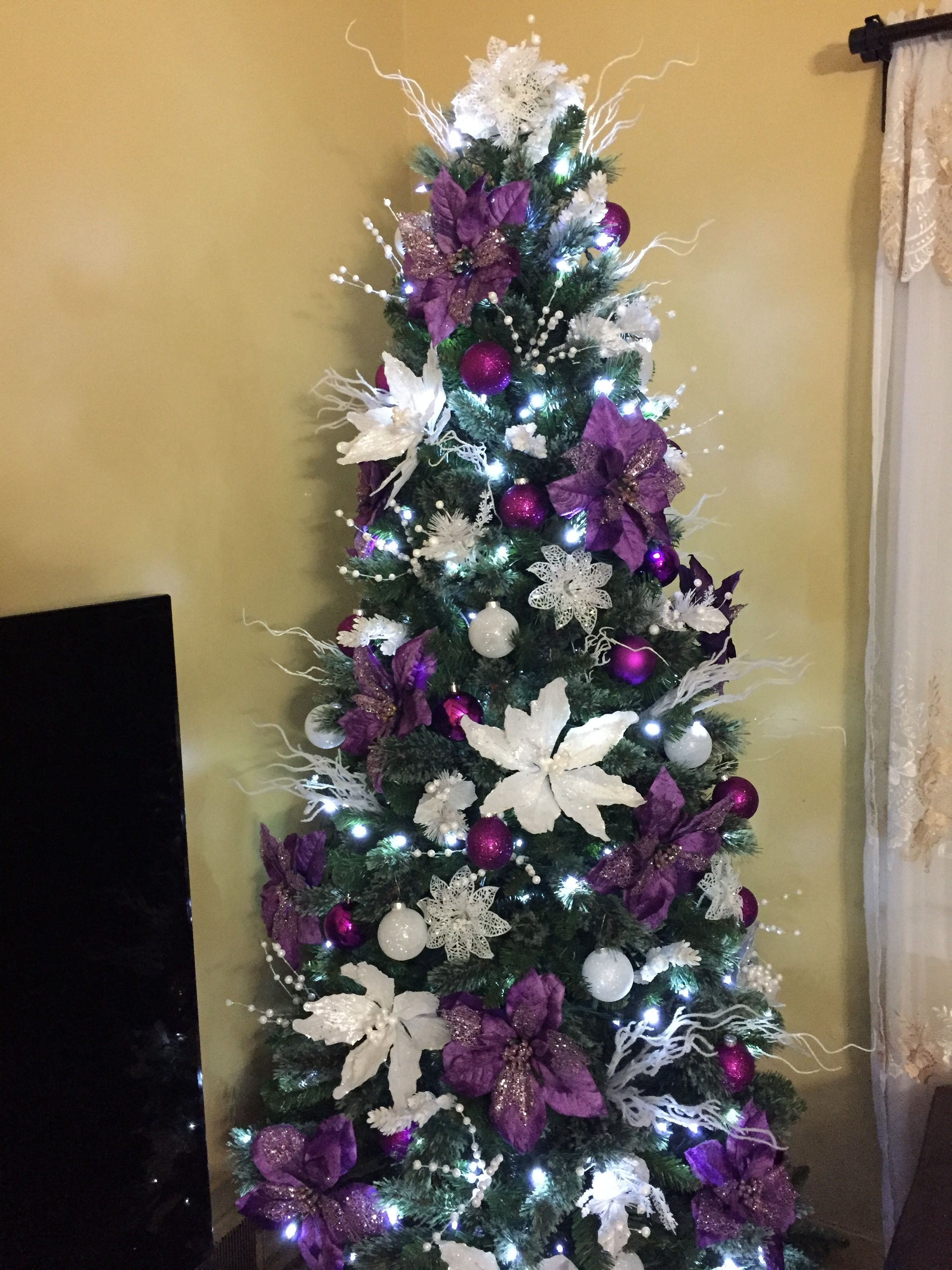 2016 purple and white christmas tree decorations