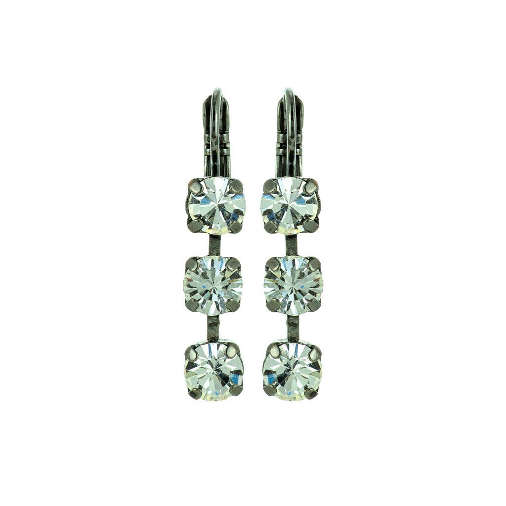 Photo of Petite Three Stone Leverback Earrings in Crystal Moonlight *Preorder – Yellow Gold