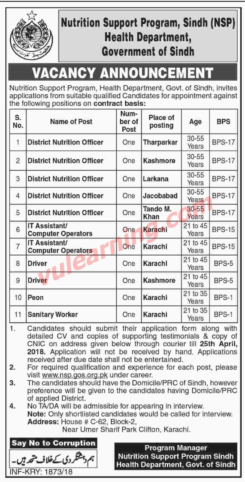 Health Department Govt of Sindh Jobs 2018 for Nutrition