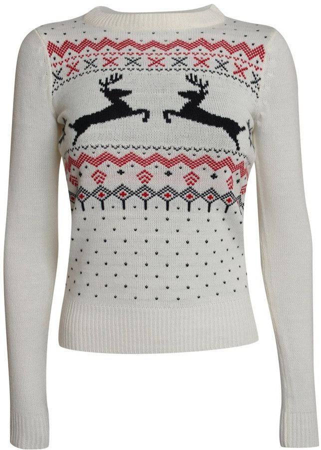 Pilot Gina Slim Fit Festive Knitted Christmas Jumper in Cream