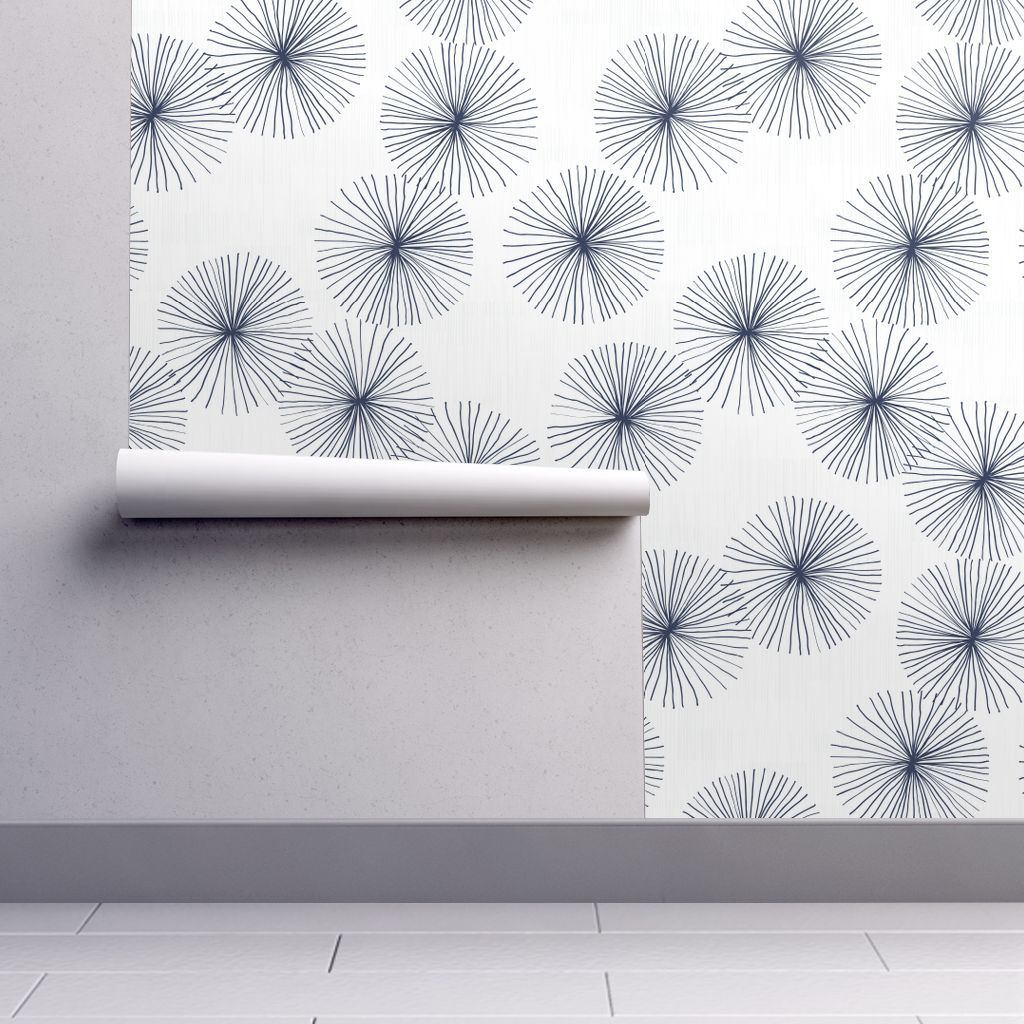 Colorful Fabrics Digitally Printed By Spoonflower Dandelions White Navy By Friztin Self Adhesive Wallpaper Mid Century Wallpaper Wallpaper