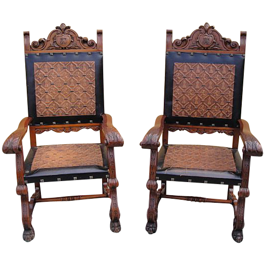 Antique Furniture Spanish Antique Carved Leather Chairs Armchairs! from  castlehillantiques on Ruby Lane - Antique Furniture Spanish Antique Carved Leather Chairs Armchairs