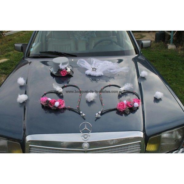 Decoration Voiture Mariage Gris Et Rose : Décoration voiture mariage composition florale faite avec