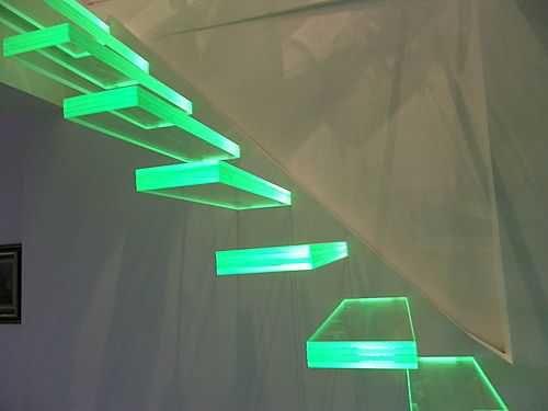 Lighting Basement Washroom Stairs: Escaleras // Vidrio E Iluminación Led