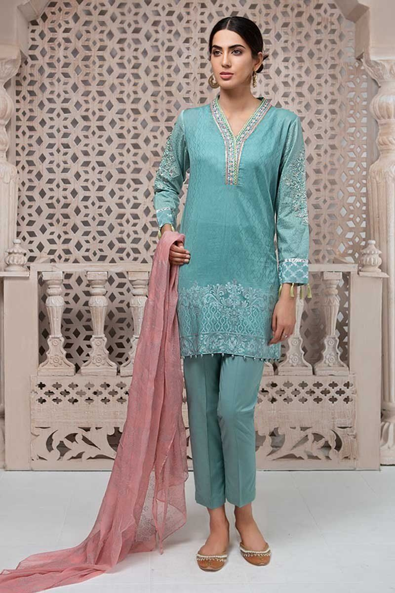 adeea48a65 Maria.B. Eid Collection 2018 Suit Ferozi DW-2087 DW-2087-FEROZI ...