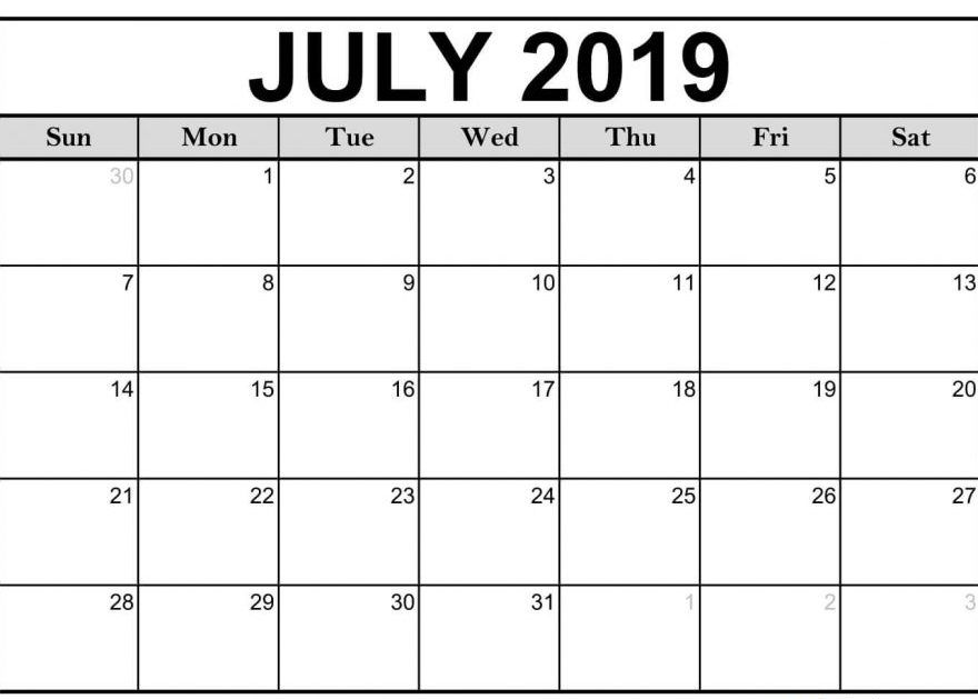 Editable July 2019 Calendar Printable Blank Template Cute July