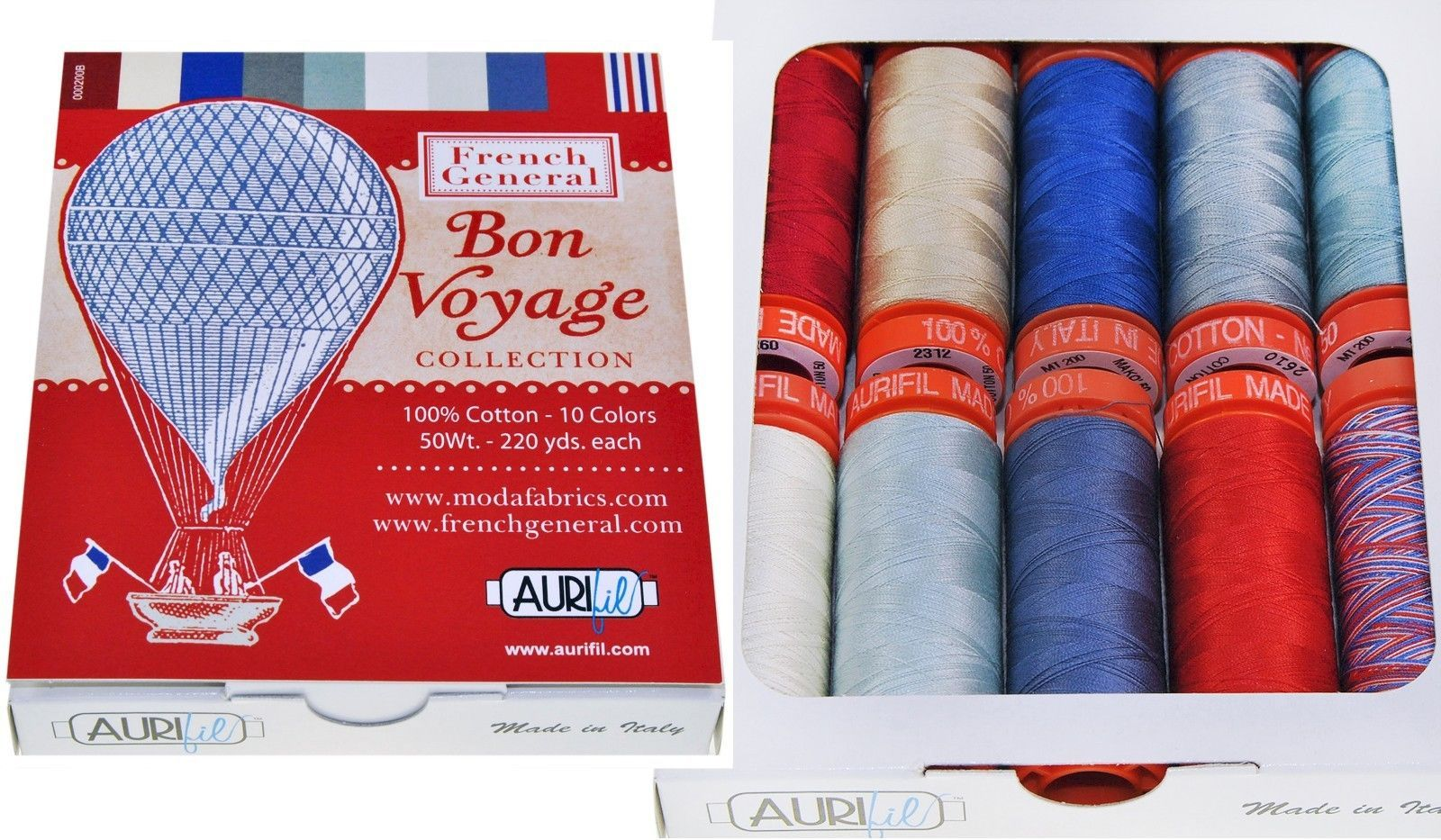 Sewing Thread 28172: Aurifil Thread 50 Wt Cotton 10 Spools - Bon Voyage By French General -> BUY IT NOW ONLY: $36.99 on eBay!