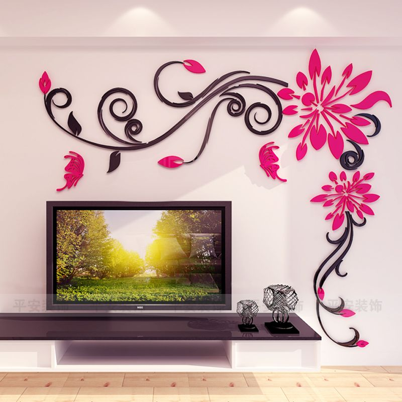 Acrylic Crystal Flower Vine 3d Wall Stickers Living Room Wall Decoration Removable Sticke Wall Paint Designs Wall Stickers Home Decor Wall Stickers Living Room
