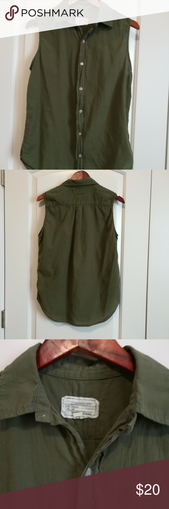 6f6c424a044c7 Current Elliot army green blouse Pre owned gently used the sleeveless grad  shirt in gauzy