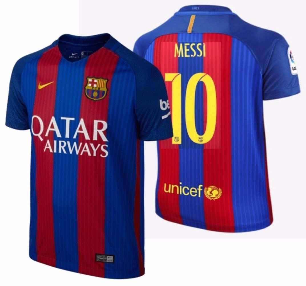 Nike lionel messi fc barcelona home youth jersey 2016 17 for Oficina qatar barcelona