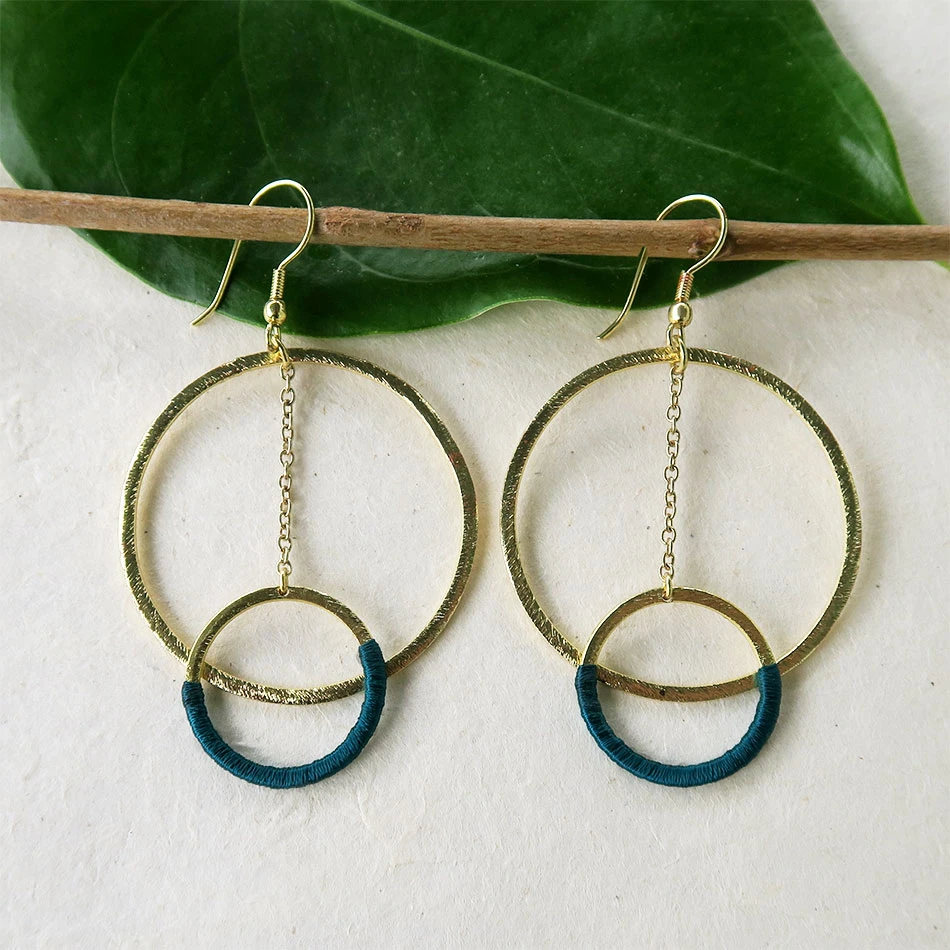 turquoise  bohochic handcrafted nickel free brass Brass earrings handmade hippiechic Earrings