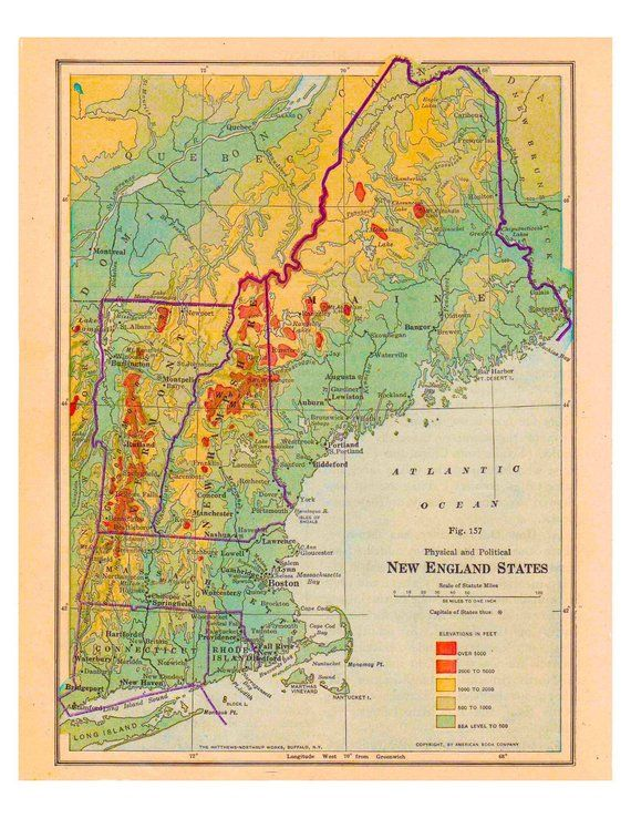 New England Map Printable.Old New England Map Physical Geography And Political From 1916