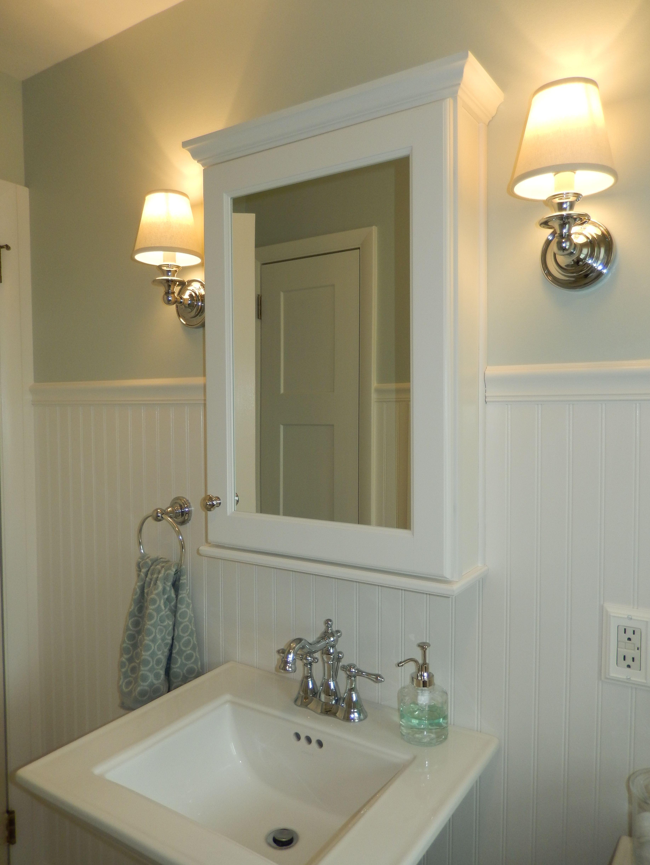 Vintage feel medicine cabinet wall sconces pedestal sink