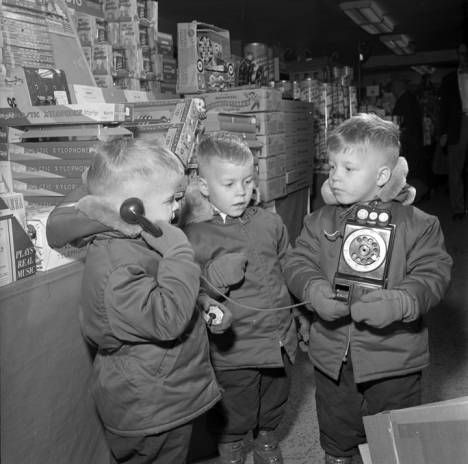 Mess triplets with toy telephone, Sears, Fargo, N.D. 1954 :: Cal Olson Photography (NDSU)