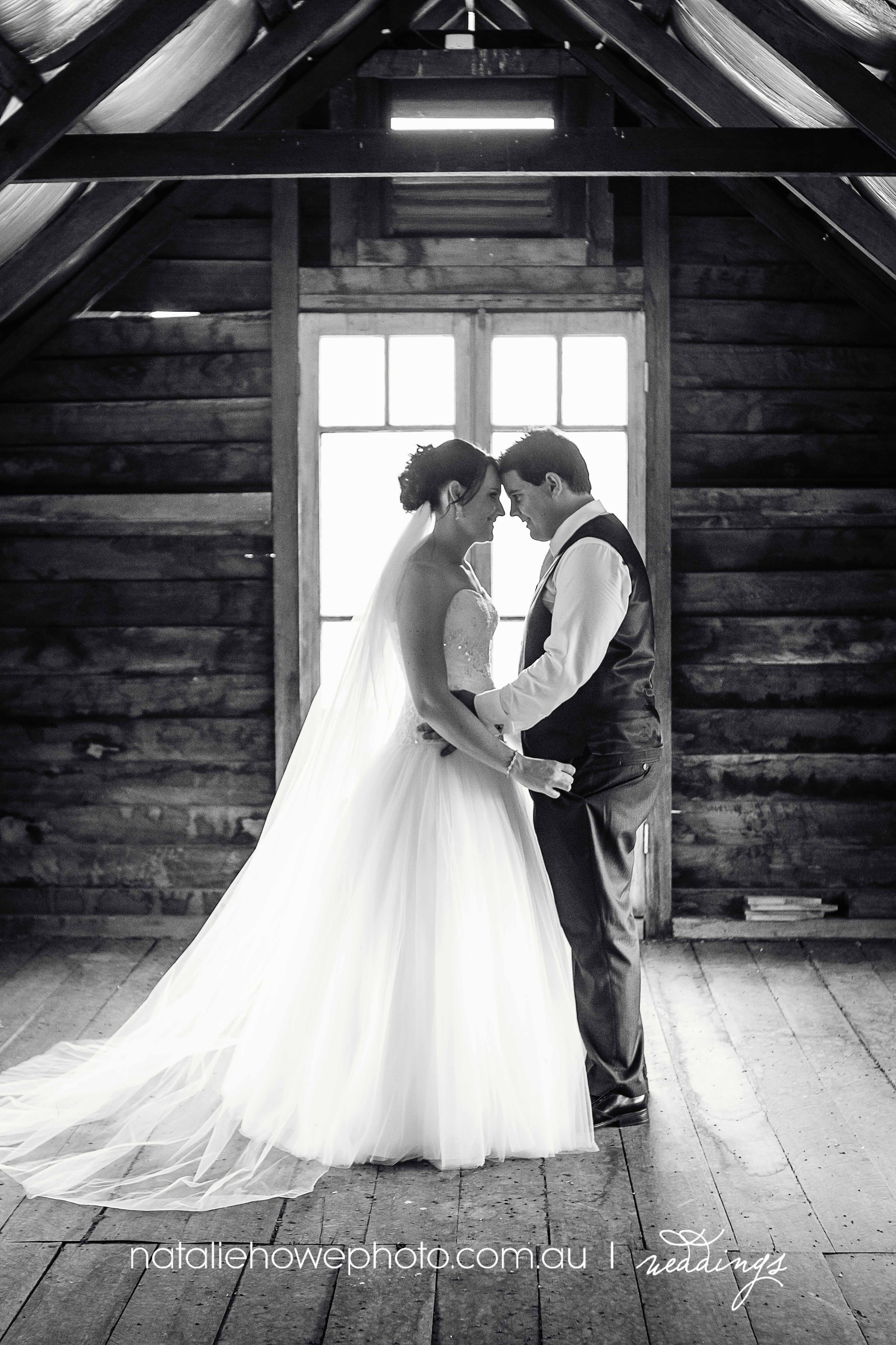 A beautiful black and white wedding photo in the Sunnybrook Barn at the Sydney Polo Club.