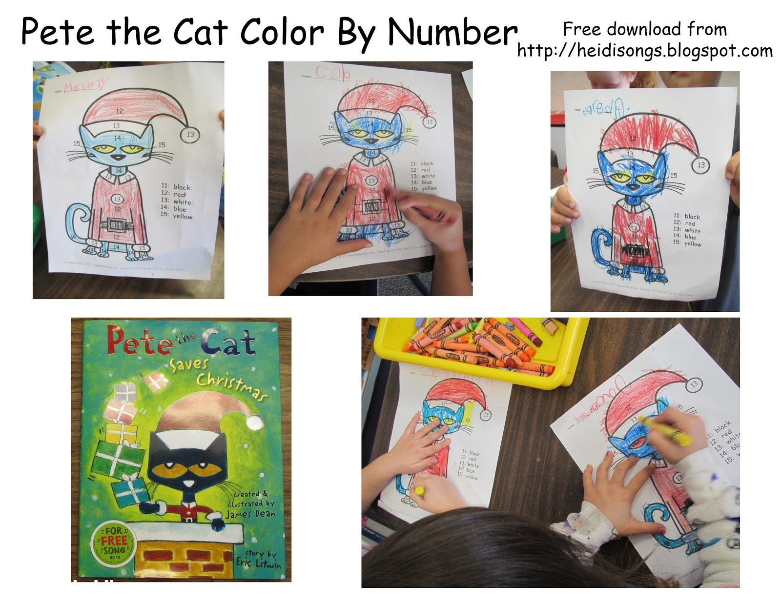 Heidisongs Resource Pete The Cat Saves Christmas Color By Number Worksheet