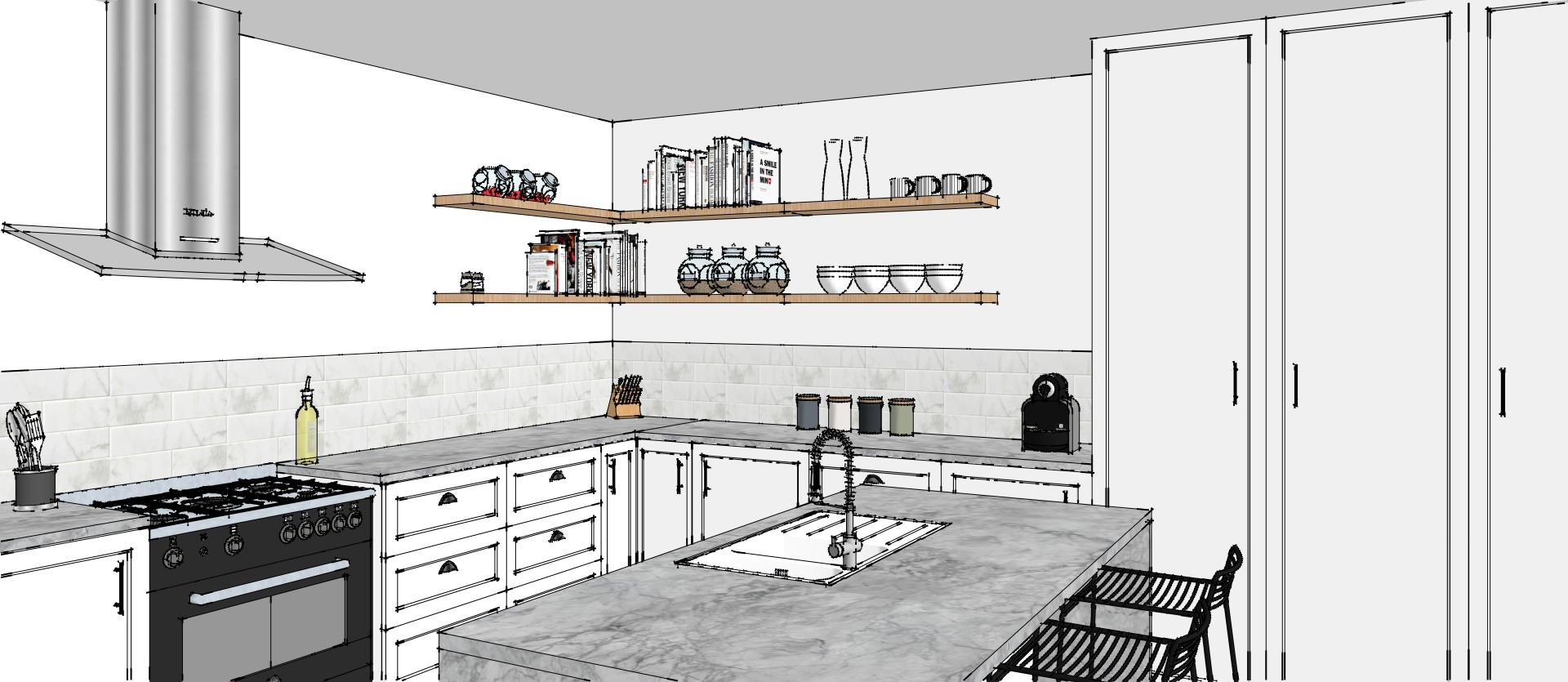 Realisation 3d D Une Piece De Vie Moderne Vue De L Espace Cuisine