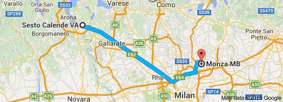 Map From Sesto Calende Va Italy To Monza Mb Italy Holidays