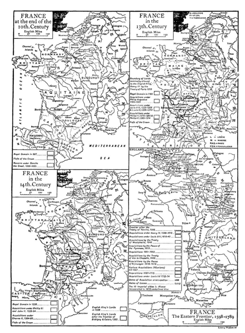 Map France 987.Four Inset Maps Of The Historical Development Of France France At