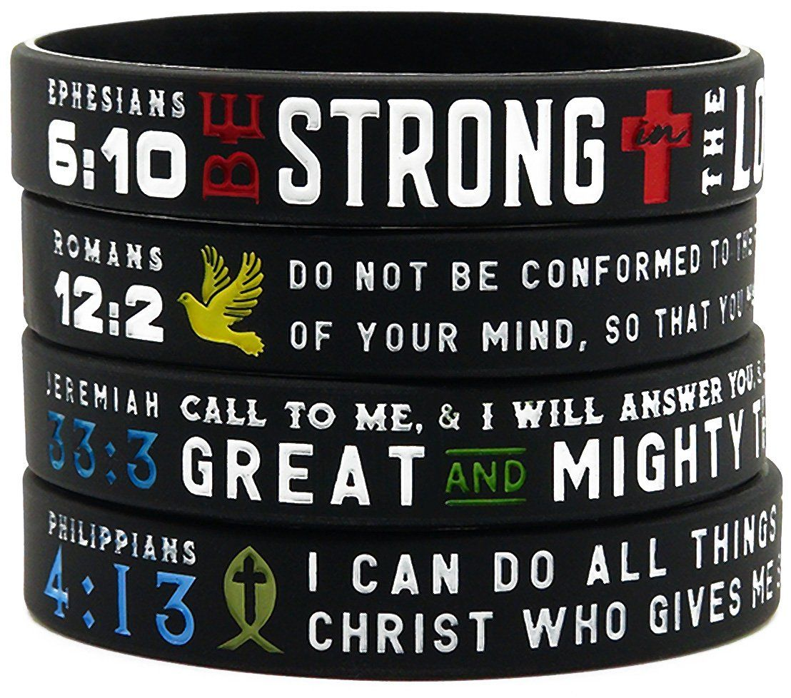 Power of faith bible verse wristbands set of 4 silicone power of faith bible verse wristbands set of 4 silicone bracelets w christian symbols scriptures set of 4 inspirational bible wristbands on the buycottarizona Images
