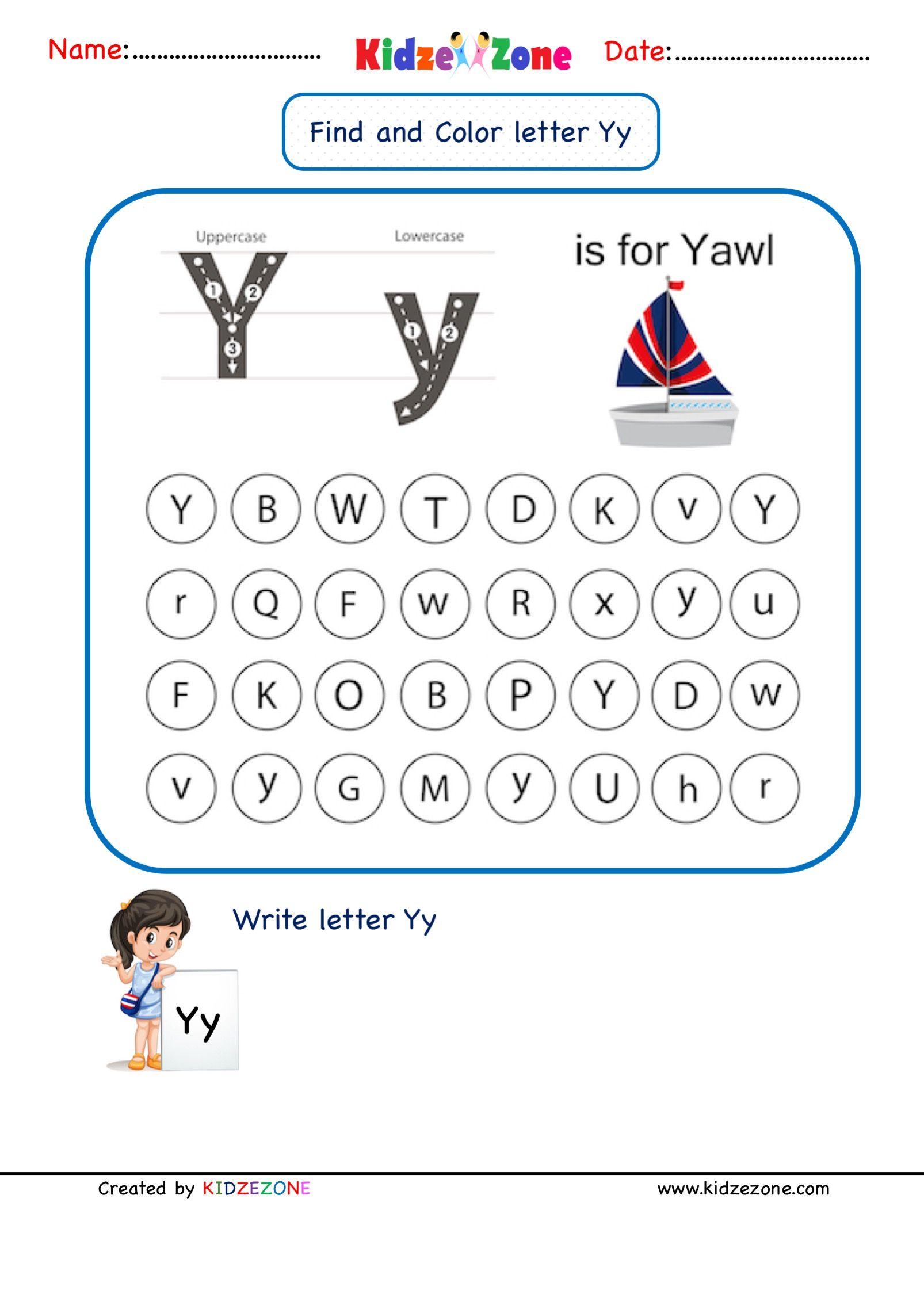 Letter Y Find And Color Worksheet In 2020 Letter Y Worksheets Kindergarten Letters Lettering