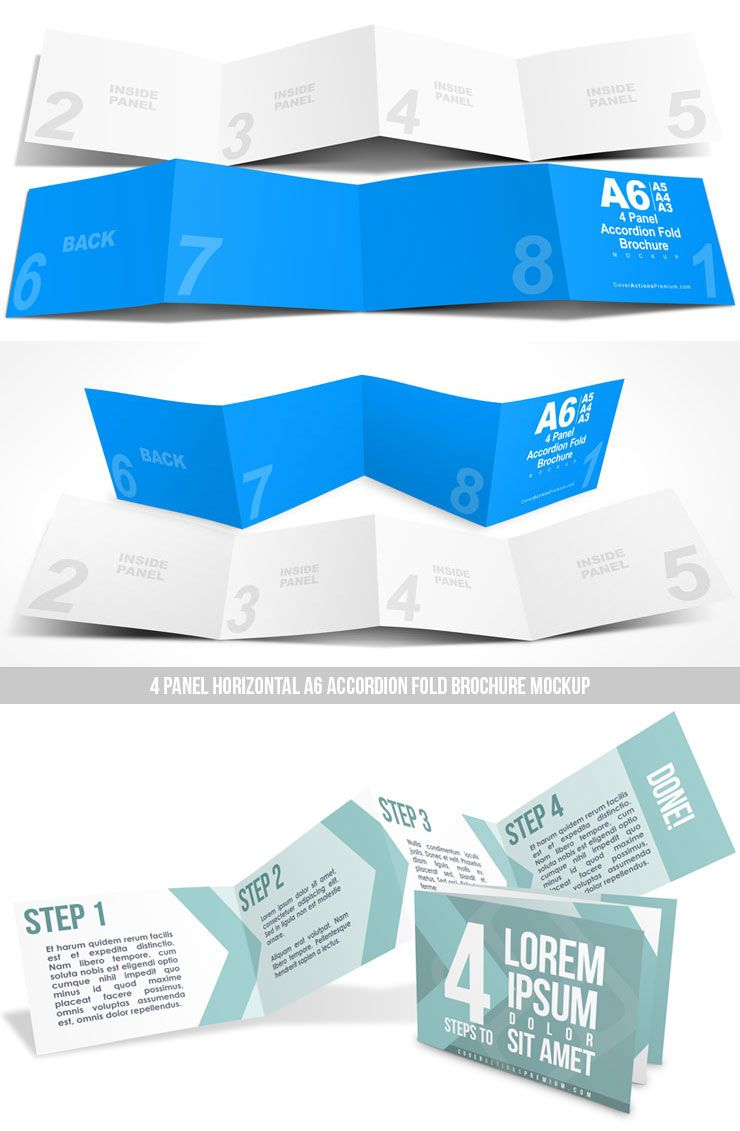 horizontal a6 accordion fold brochure mockup 4 panel 8pp brochure