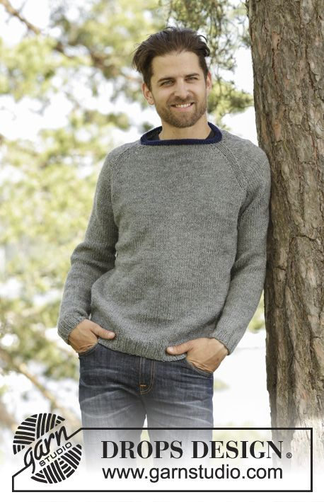 Knitted DROPS men\'s jumper with raglan in Karisma. Size: S - XXXL ...