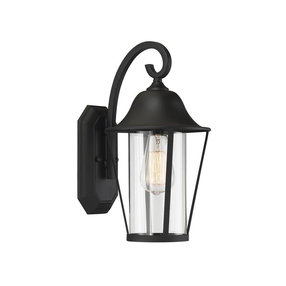 Filament Design 1-Light Matte Black Outdoor Wall Lantern