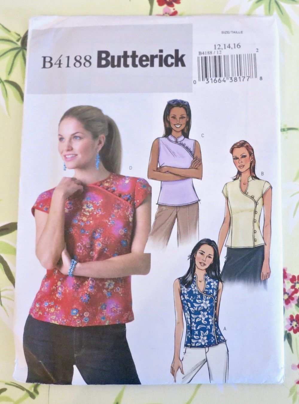 Womens cheongsam chinese blouse pattern butterick 4188 butterick misses top sewing pattern easy sewing top petite top patterns missesmiss petite sizes uncut jeuxipadfo Image collections