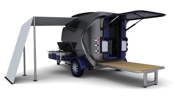 Tiny concept, but well thought out and shnazzy!  Compact Caravan by Heather , via Behance