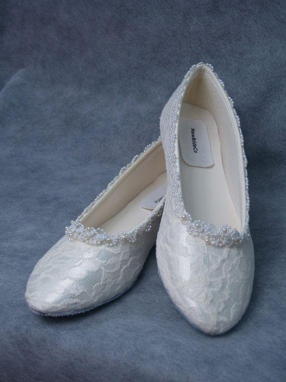 2e77342e9650 Wedding Lace Flats Ivory White B and W width by NewBrideCo on Etsy ...