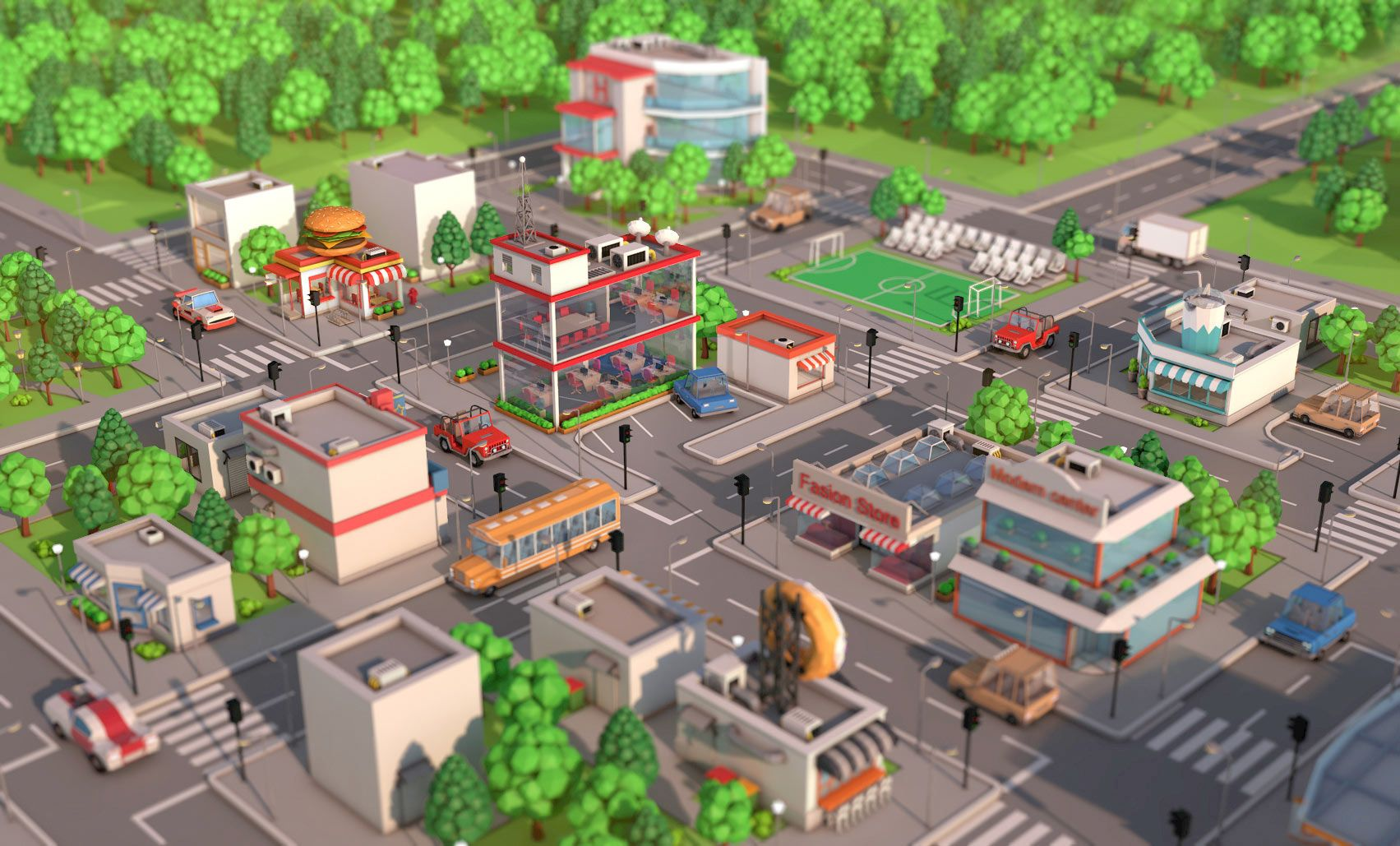 Low Poly City Pack Download 3D model | saman suppasri | Low poly