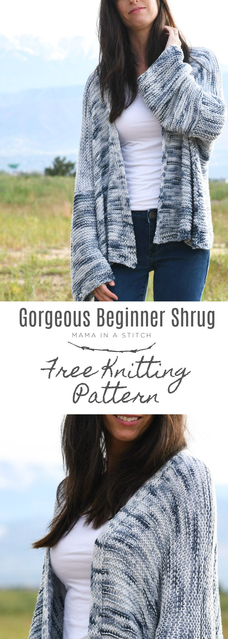 Painted Sky Comfy Shrug – Beginner Sweater Pattern #freeknittingpatterns