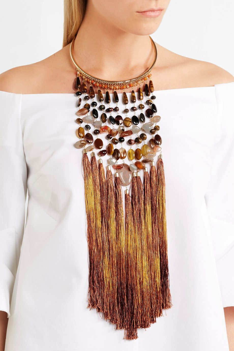 Rum Tasseled Gold-tone Beaded Necklace - Brown Rosantica