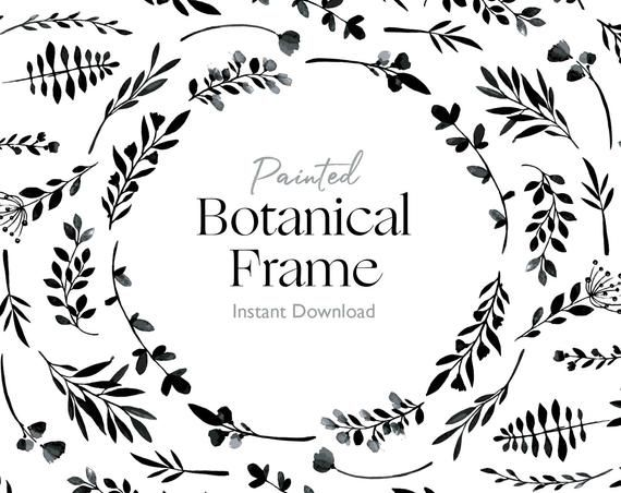 Photo of Hand Painted Leaf Border Clipart Frame Black Ink Botanical, Floral Wreath illustration watercolour JPEG PNG, A4 A5, Drawn file Wedding art